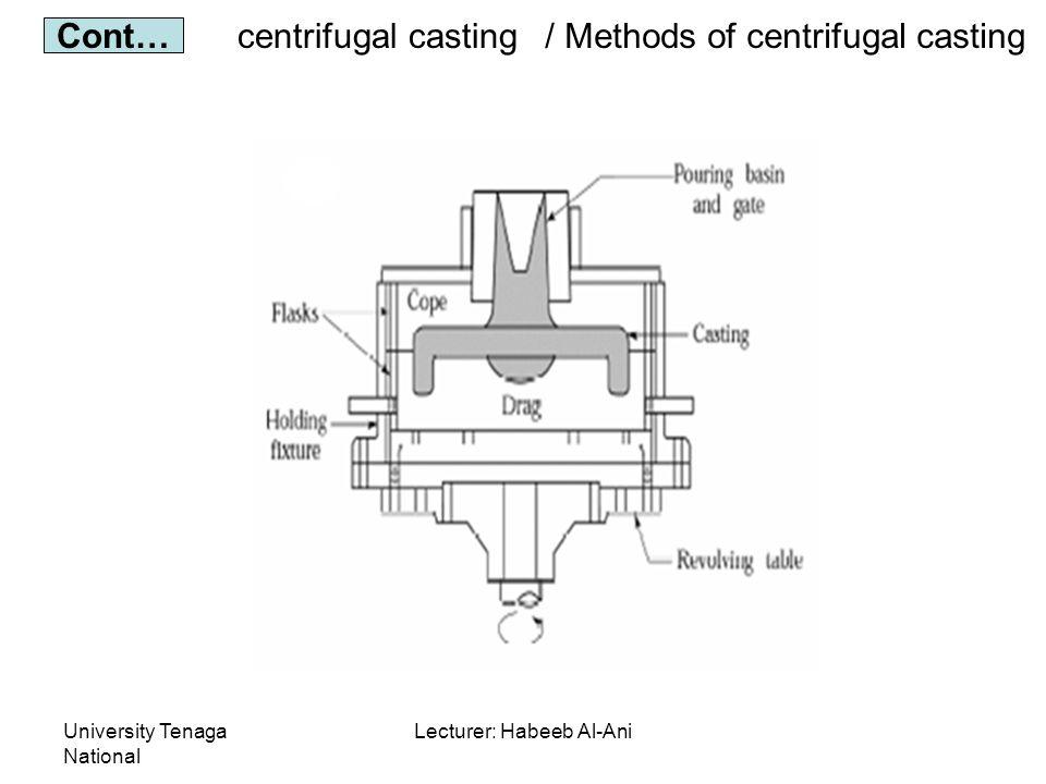 University Tenaga National Lecturer: Habeeb Al-Ani centrifugal casting Cont… / Methods of centrifugal casting
