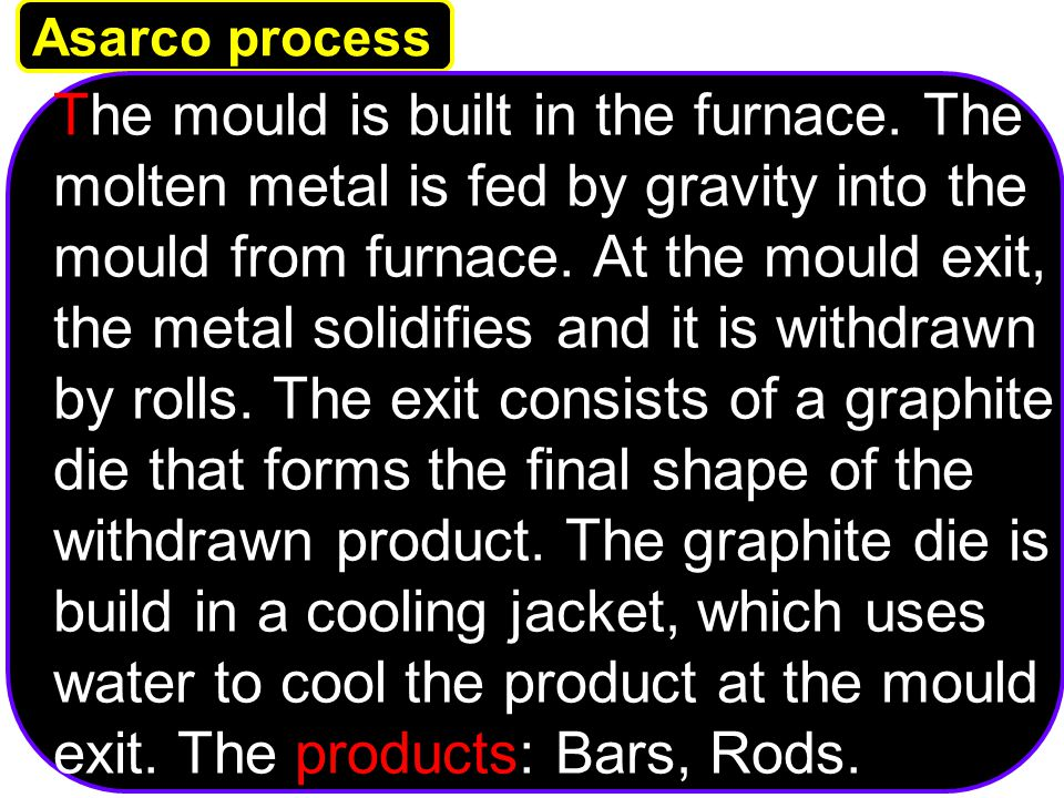 University Tenaga National Lecturer: Habeeb Al-Ani Asarco process The mould is built in the furnace. The molten metal is fed by gravity into the mould