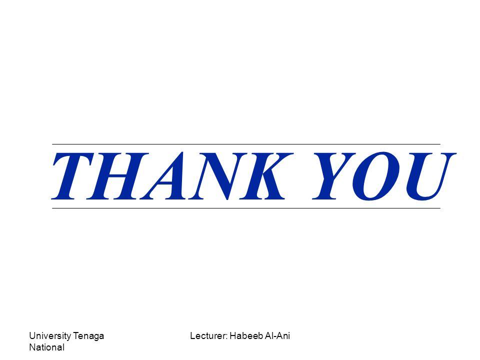 University Tenaga National Lecturer: Habeeb Al-Ani THANK YOU
