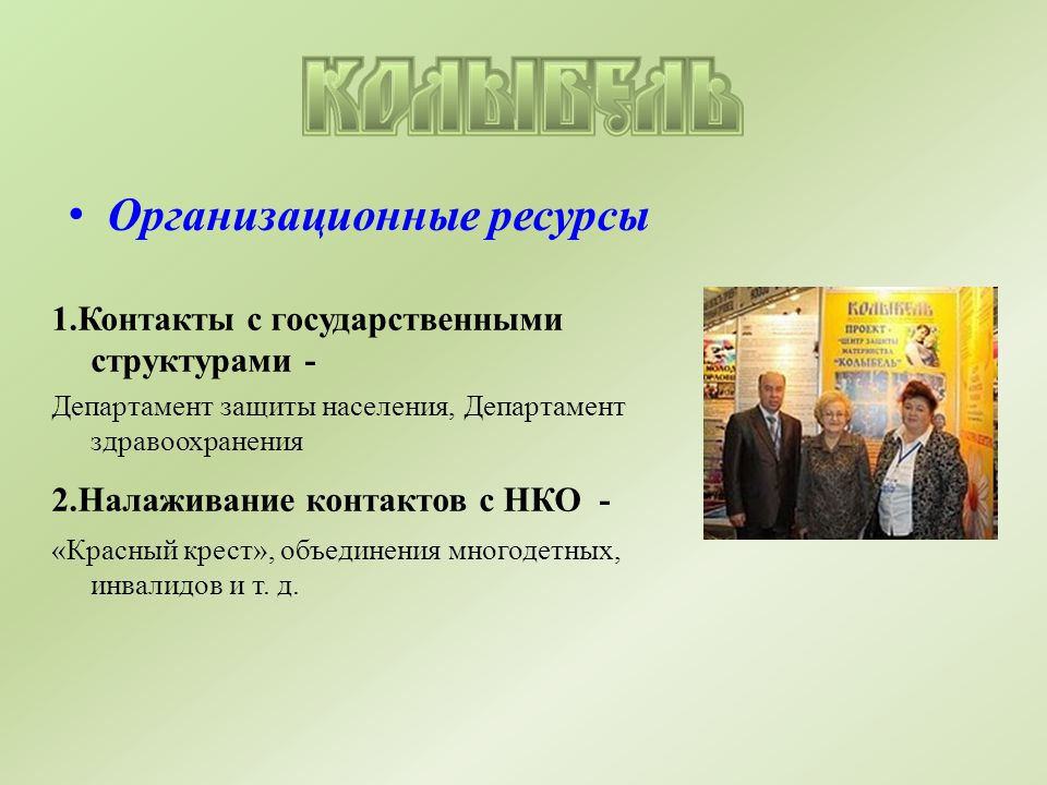 Организационные ресурсы 1.Контакты с государственными структурами - Департамент защиты населения, Департамент здравоохранения 2.Налаживание контактов