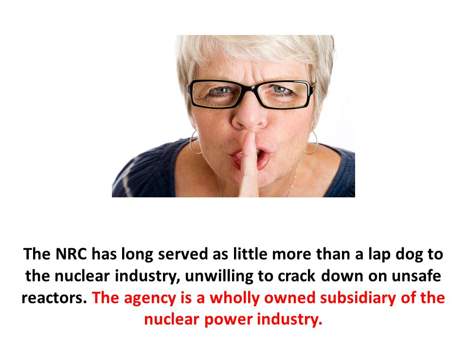 The NRC has long served as little more than a lap dog to the nuclear industry, unwilling to crack down on unsafe reactors.