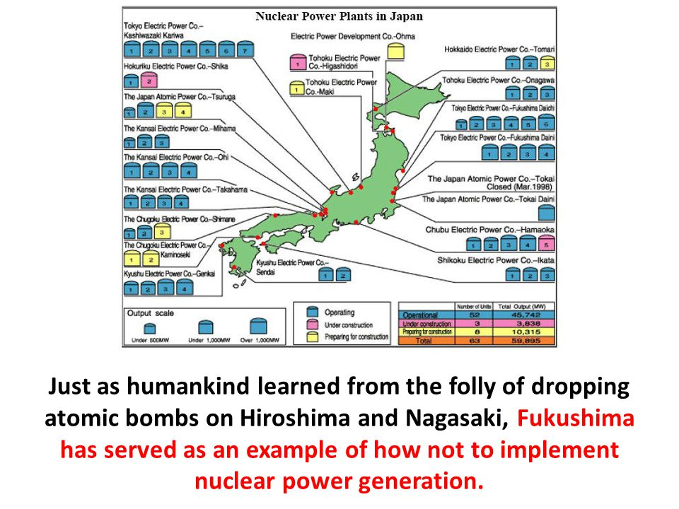 Just as humankind learned from the folly of dropping atomic bombs on Hiroshima and Nagasaki, Fukushima has served as an example of how not to implement nuclear power generation.