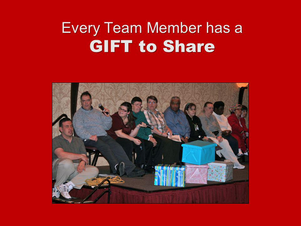Every Team Member has a GIFT to Share