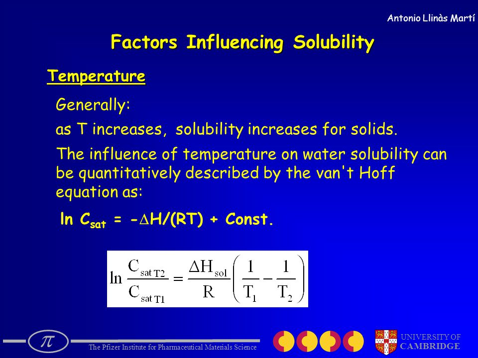  The Pfizer Institute for Pharmaceutical Materials Science UNIVERSITY OF CAMBRIDGE Antonio Llinàs Martí Factors Influencing Solubility Temperature Generally: as T increases, solubility increases for solids.