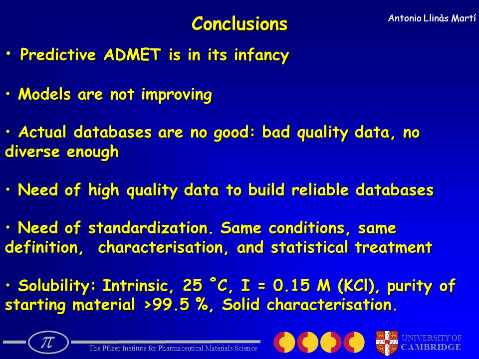  The Pfizer Institute for Pharmaceutical Materials Science UNIVERSITY OF CAMBRIDGE Antonio Llinàs MartíConclusions Predictive ADMET is in its infancy Predictive ADMET is in its infancy Models are not improving Models are not improving Actual databases are no good: bad quality data, no Actual databases are no good: bad quality data, no diverse enough Need of high quality data to build reliable databases Need of high quality data to build reliable databases Need of standardization.