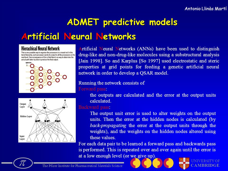  The Pfizer Institute for Pharmaceutical Materials Science UNIVERSITY OF CAMBRIDGE Antonio Llinàs Martí Artificial Neural Networks ADMET predictive models Artificial Neural Networks (ANNs) have been used to distinguish drug-like and non-drug-like molecules using a substructural analysis [Jain 1998].