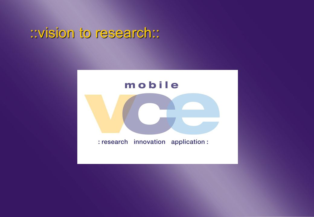 www.mobilevce.com © 2011 Mobile VCE ::vision to research::