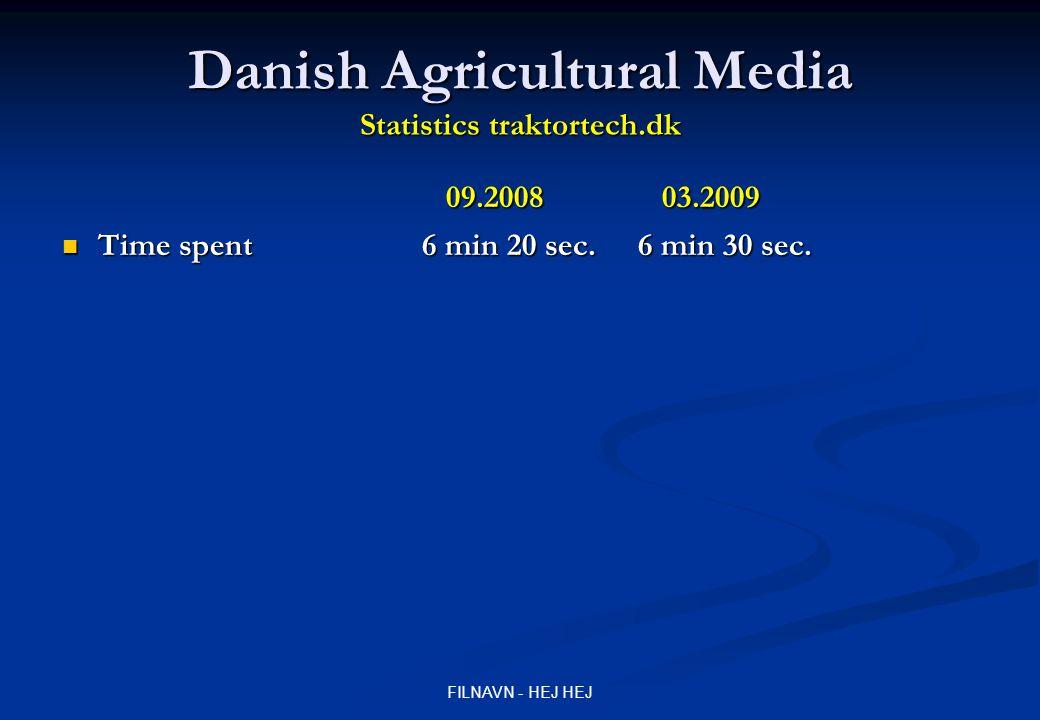 FILNAVN - HEJ HEJ Danish Agricultural Media Statistics traktortech.dk 09.2008 03.2009 Time spent 6 min 20 sec.6 min 30 sec.