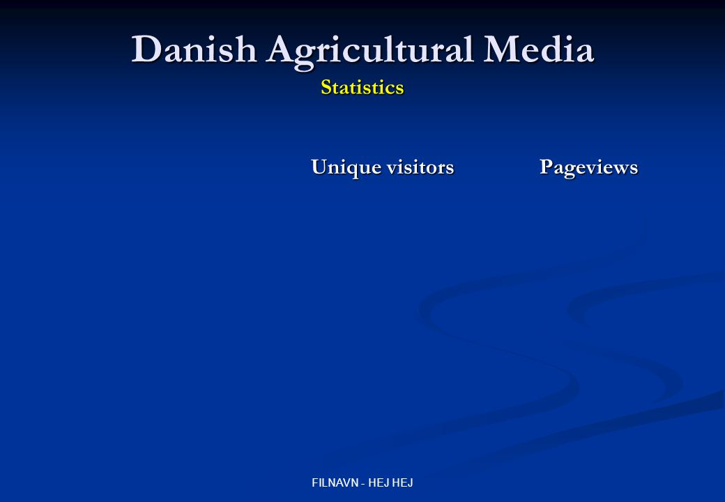 FILNAVN - HEJ HEJ Danish Agricultural Media Statistics Unique visitors Pageviews 09.2008 03.2009 09.2008 03.2009
