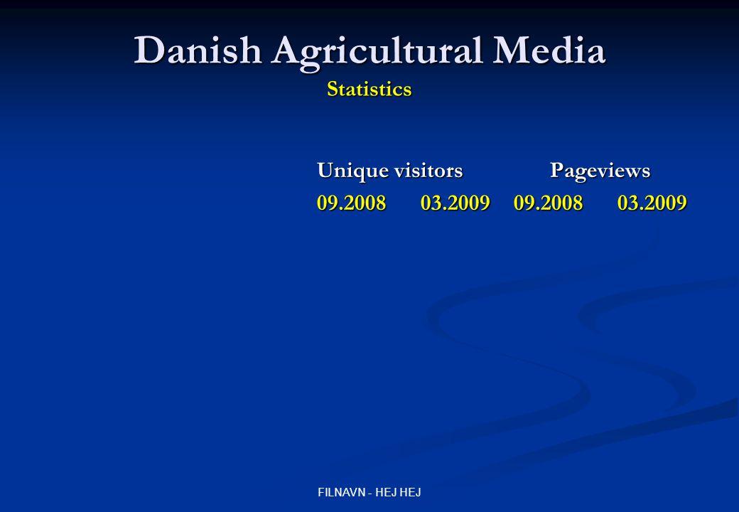 FILNAVN - HEJ HEJ Danish Agricultural Media Statistics Unique visitors Pageviews 09.2008 03.2009 09.2008 03.2009 landmandsportalen.dk 22.000 25.000 1.100.000 1.100.000 landmandsportalen.dk 22.000 25.000 1.100.000 1.100.000