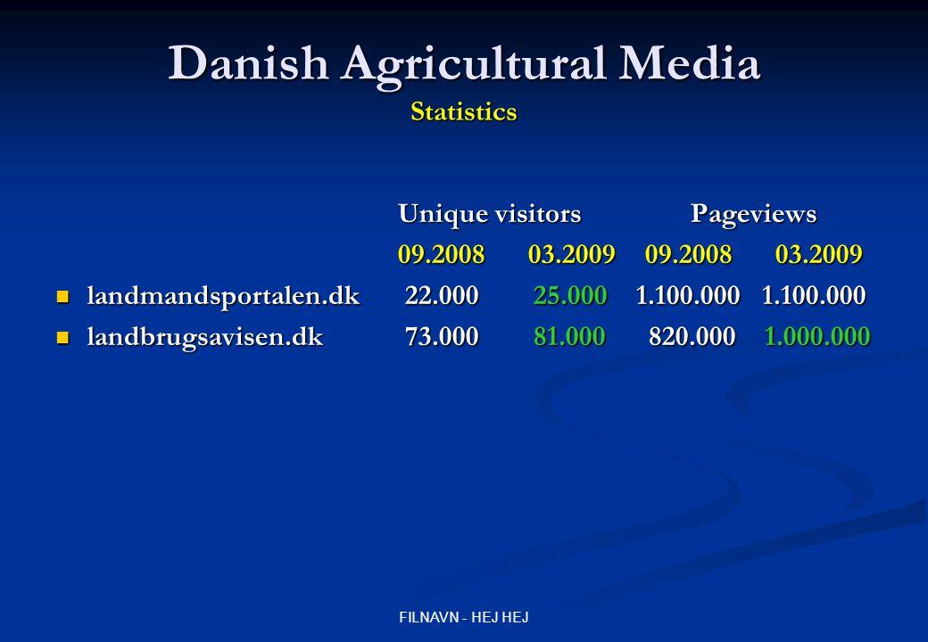 FILNAVN - HEJ HEJ Danish Agricultural Media Statistics Unique visitors Pageviews 09.2008 03.2009 09.2008 03.2009 landmandsportalen.dk 22.000 25.000 1.100.000 1.100.000 landmandsportalen.dk 22.000 25.000 1.100.000 1.100.000 landbrugsavisen.dk 73.000 81.000 820.000 1.000.000 landbrugsavisen.dk 73.000 81.000 820.000 1.000.000