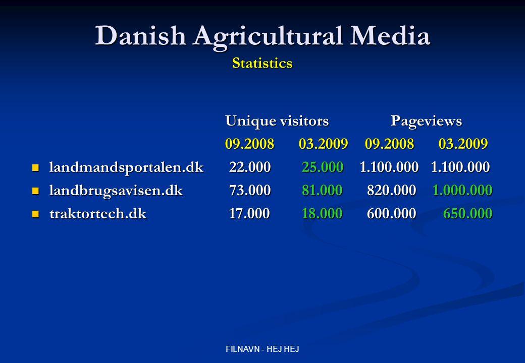 FILNAVN - HEJ HEJ Danish Agricultural Media Statistics Unique visitors Pageviews 09.2008 03.2009 09.2008 03.2009 landmandsportalen.dk 22.000 25.000 1.100.000 1.100.000 landmandsportalen.dk 22.000 25.000 1.100.000 1.100.000 landbrugsavisen.dk 73.000 81.000 820.000 1.000.000 landbrugsavisen.dk 73.000 81.000 820.000 1.000.000 traktortech.dk 17.000 18.000 600.000 650.000 traktortech.dk 17.000 18.000 600.000 650.000