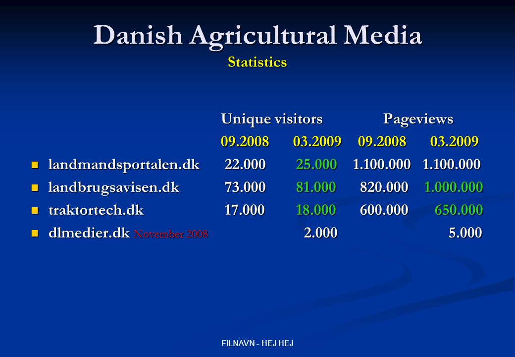 FILNAVN - HEJ HEJ Danish Agricultural Media Redesign traktortech.dk Homepage in the air November 2006 Printed magazine January 2008 Homepage redesign September 2008 Design-->More bright and calm Design-->More bright and calm Forum -->1 --> 2 MachineryDoctor + MachineryFun Forum -->1 --> 2 MachineryDoctor + MachineryFun New: Community with profiles (machinery-house, pictures, interests, message-system, friends) New: Community with profiles (machinery-house, pictures, interests, message-system, friends) And what happened...