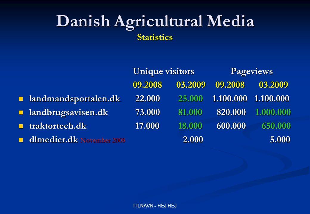 FILNAVN - HEJ HEJ Danish Agricultural Media Statistics Unique visitors Pageviews 09.2008 03.2009 09.2008 03.2009 landmandsportalen.dk 22.000 25.000 1.100.000 1.100.000 landmandsportalen.dk 22.000 25.000 1.100.000 1.100.000 landbrugsavisen.dk 73.000 81.000 820.000 1.000.000 landbrugsavisen.dk 73.000 81.000 820.000 1.000.000 traktortech.dk 17.000 18.000 600.000 650.000 traktortech.dk 17.000 18.000 600.000 650.000 dlmedier.dk November 2008 2.000 5.000 dlmedier.dk November 2008 2.000 5.000