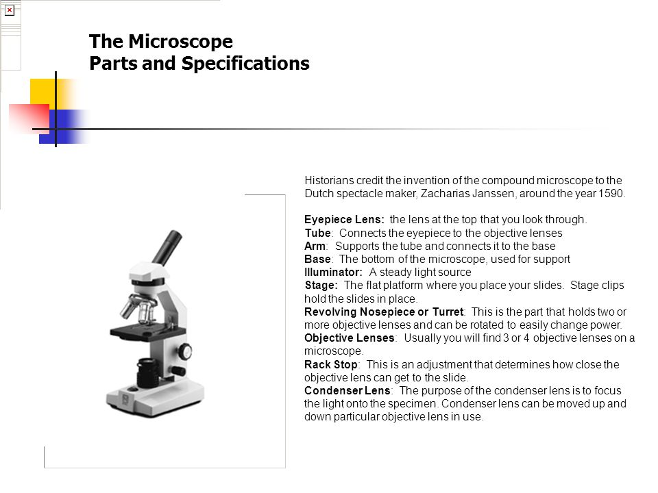 The Microscope Parts and Specifications Historians credit the invention of the compound microscope to the Dutch spectacle maker, Zacharias Janssen, ar