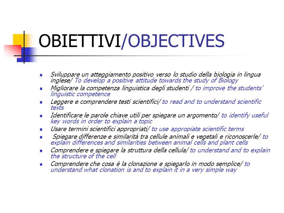 OBIETTIVI/OBJECTIVES Sviluppare un atteggiamento positivo verso lo studio della biologia in lingua inglese/ To develop a positive attitude towards the