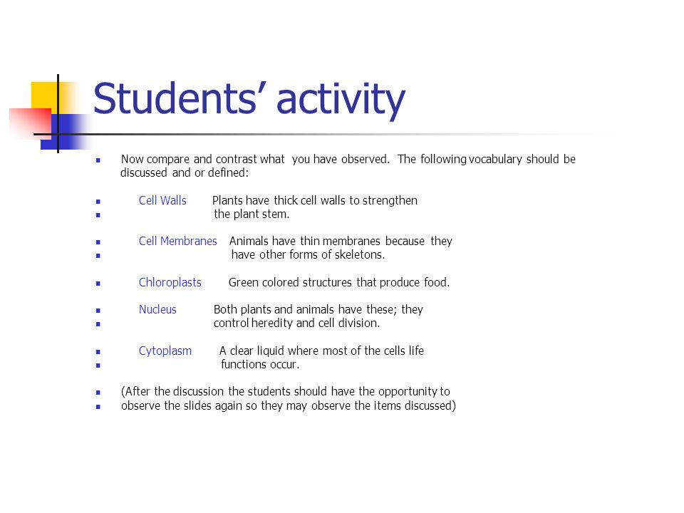 Students' activity Now compare and contrast what you have observed.