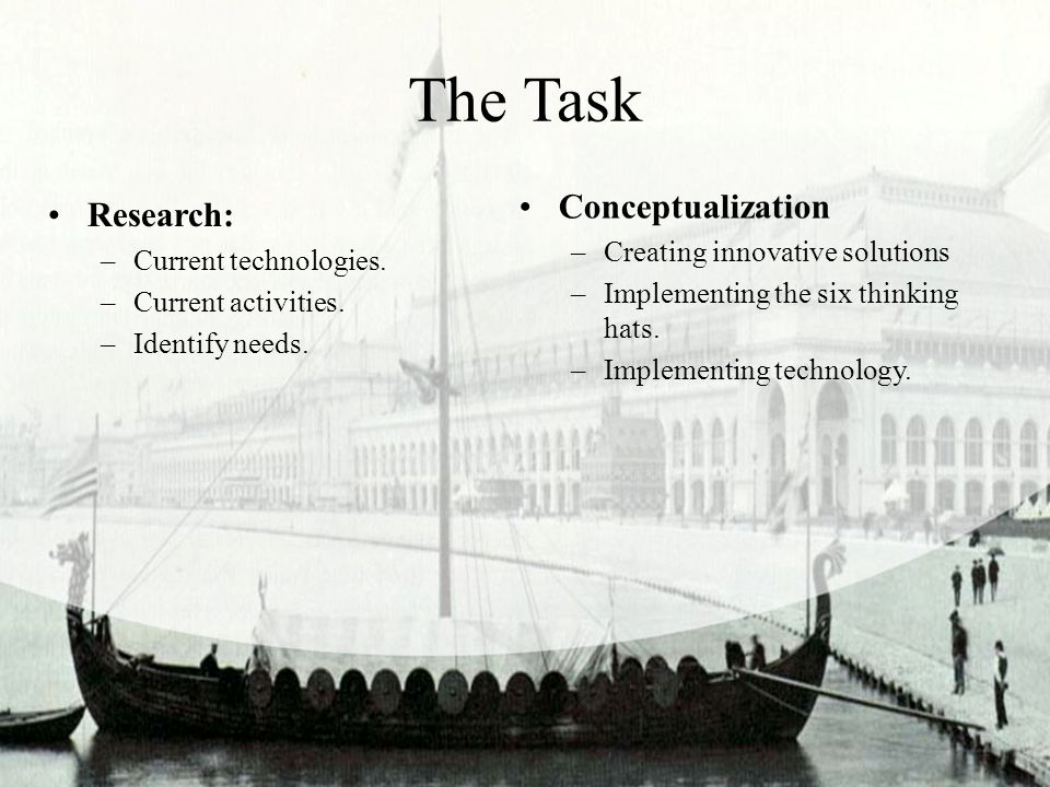 The Task Research: –Current technologies. –Current activities. –Identify needs. Conceptualization –Creating innovative solutions –Implementing the six