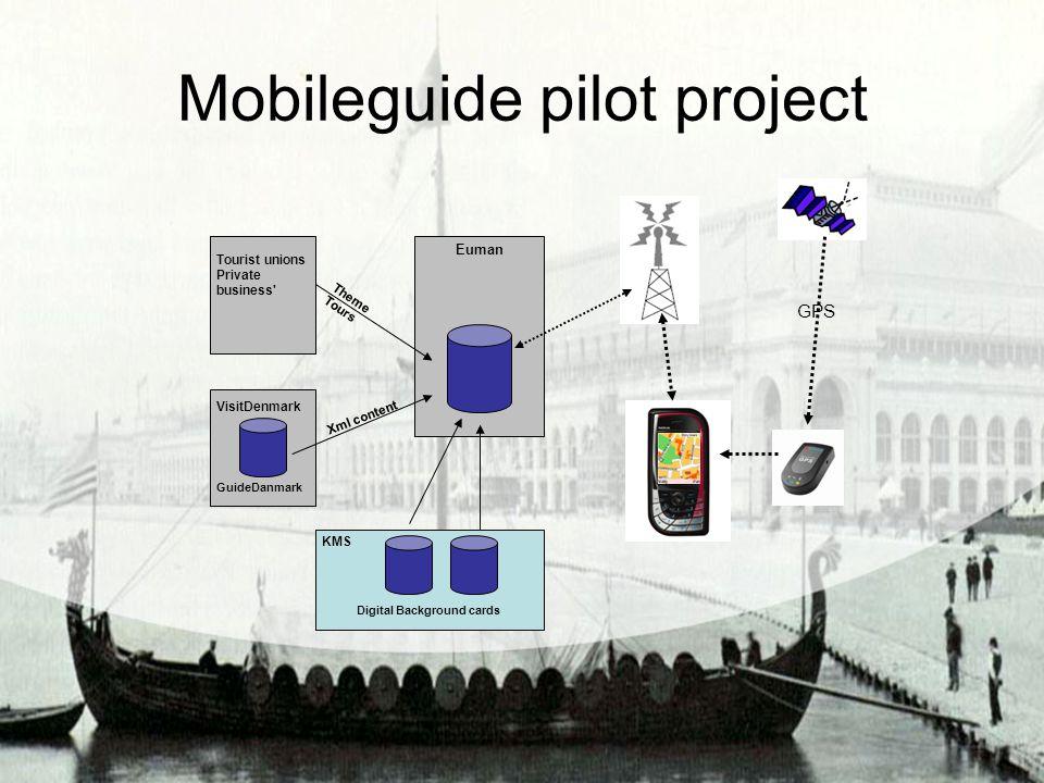Mobileguide pilot project GPS GuideDanmark VisitDenmark Tourist unions Private business' Xml content KMS Digital Background cards Euman Theme Tours