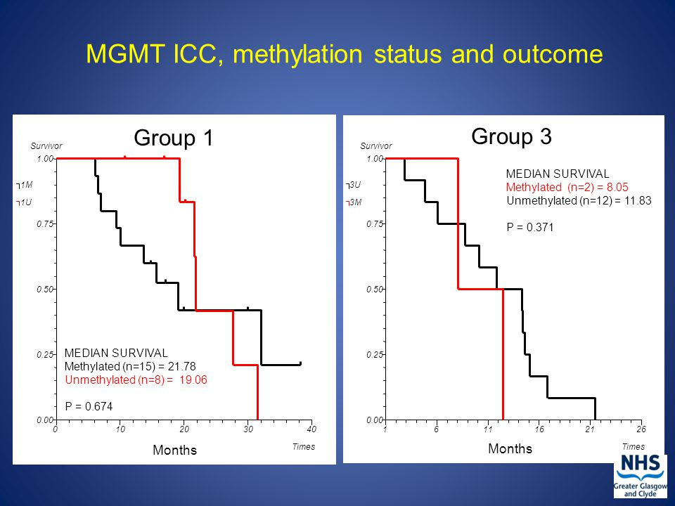 MGMT ICC, methylation status and outcome 010203040 0.00 0.25 0.50 0.75 1.00 Survivor Times 1M 1U MEDIAN SURVIVAL Methylated (n=15) = 21.78 Unmethylated (n=8) = 19.06 P = 0.674 Group 1 Months 1611162126 0.00 0.25 0.50 0.75 1.00 Survivor Times 3U 3M MEDIAN SURVIVAL Methylated (n=2) = 8.05 Unmethylated (n=12) = 11.83 P = 0.371 Group 3 Months