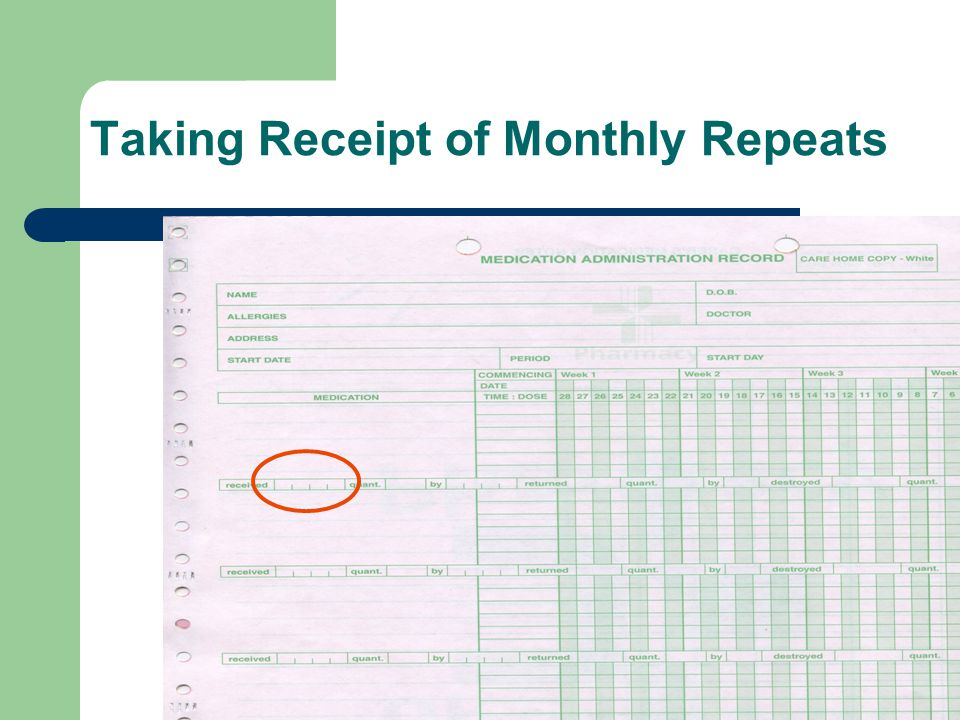 Taking Receipt of Monthly Repeats