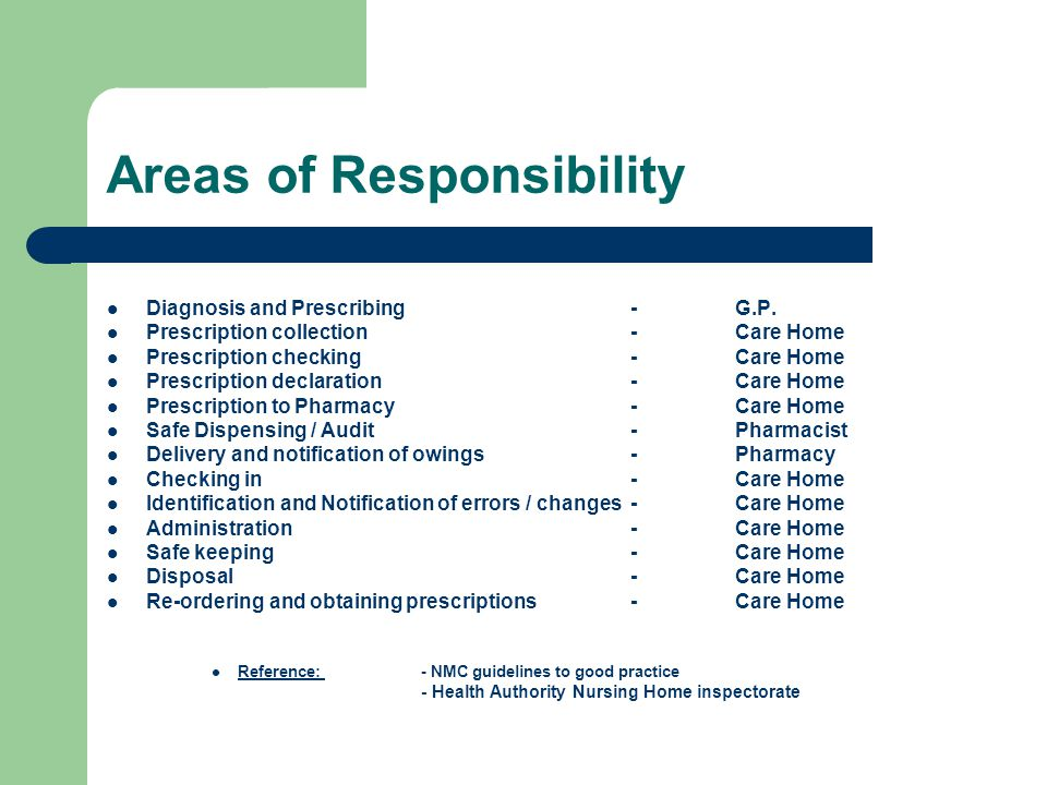 Areas of Responsibility Diagnosis and Prescribing-G.P.