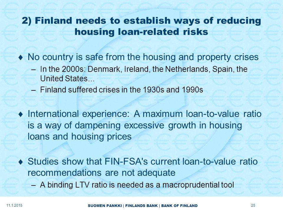 SUOMEN PANKKI | FINLANDS BANK | BANK OF FINLAND 2) Finland needs to establish ways of reducing housing loan-related risks  No country is safe from the housing and property crises –In the 2000s: Denmark, Ireland, the Netherlands, Spain, the United States...