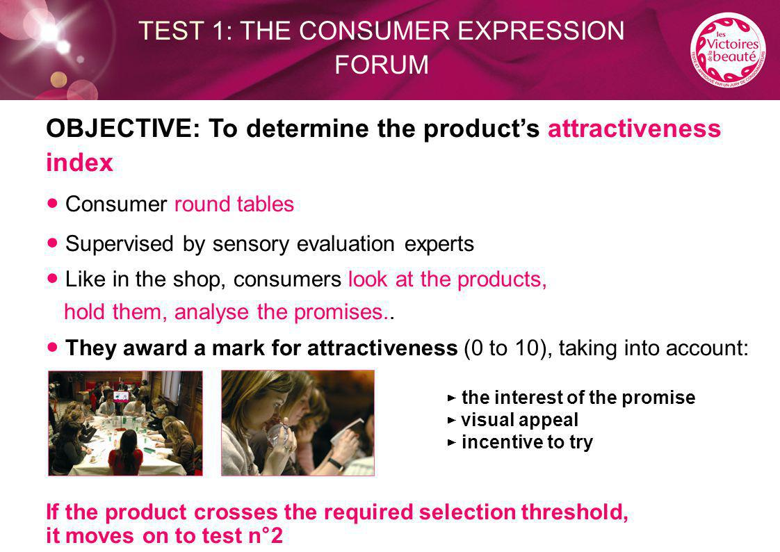 OBJECTIVE: To determine the product's attractiveness index ● Consumer round tables ● Supervised by sensory evaluation experts ● Like in the shop, cons