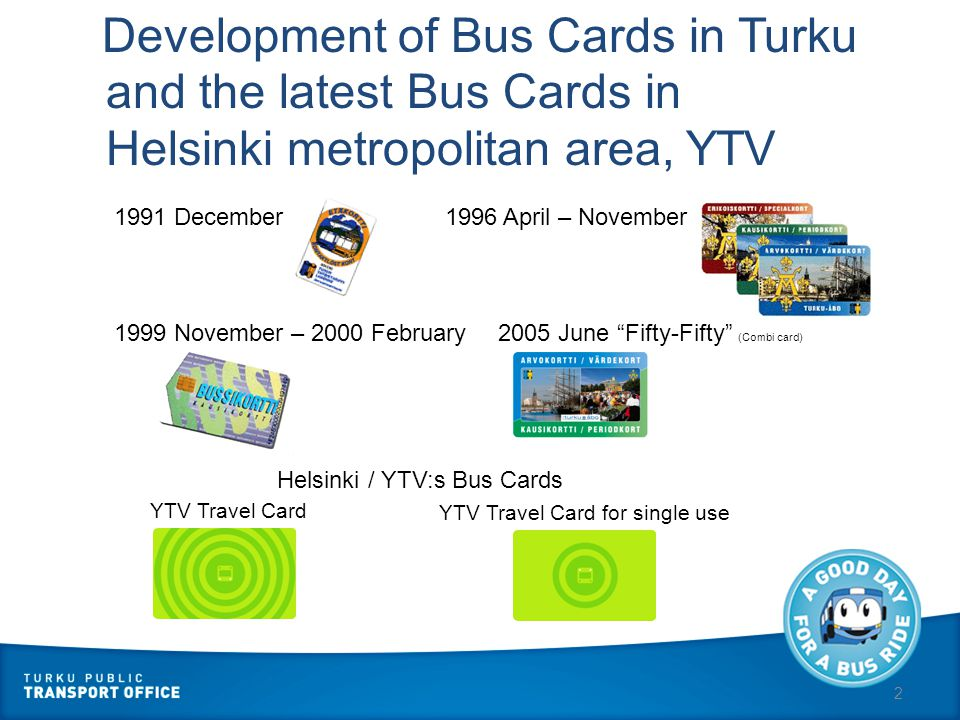 2 Development of Bus Cards in Turku 1991 December 1996 April – November 1999 November – 2000 February2005 June Fifty-Fifty (Combi card) and the latest Bus Cards in Helsinki metropolitan area, YTV Helsinki / YTV:s Bus Cards YTV Travel Card YTV Travel Card for single use