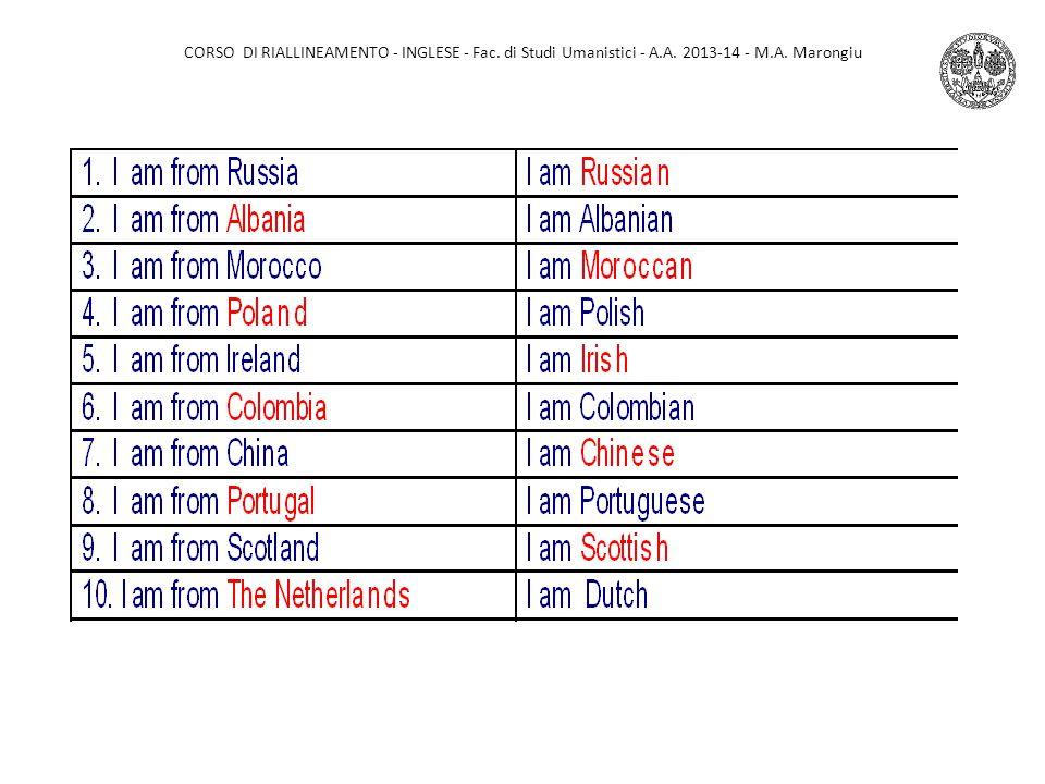 CORSO DI RIALLINEAMENTO - INGLESE - Fac. di Studi Umanistici - A.A. 2013-14 - M.A. Marongiu