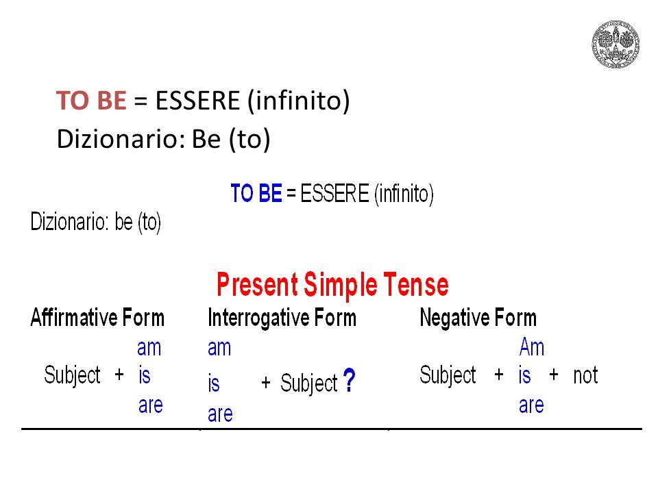 TO BE = ESSERE (infinito) Dizionario: Be (to)