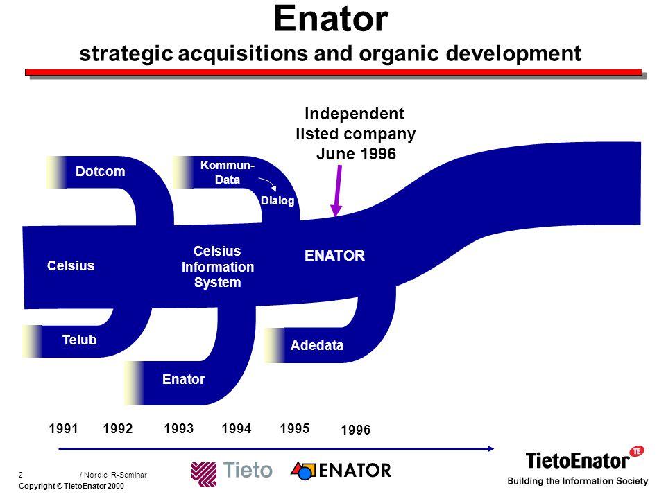 Copyright © TietoEnator 2000 / Nordic IR-Seminar3 Tieto strategic acquisitions and organic development 199319941995199619971998 TIETOTEHDAS OY VTKK Group Tieto Entra Avencer Unic Konts