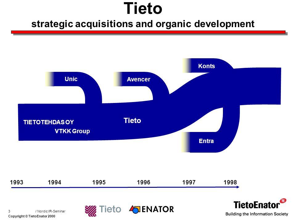 Copyright © TietoEnator 2000 / Nordic IR-Seminar4 A merger of equals TIETOENATOR ENATOR TIETO Sales (pro forma 1998) EUR 1.081 M SEK 9.556 M FIM 6.425 M > 10.000 employees