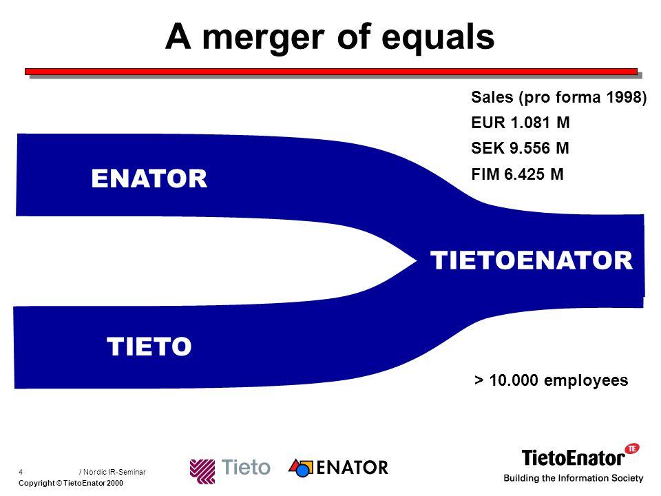Copyright © TietoEnator 2000 / Nordic IR-Seminar15 What can be learned .
