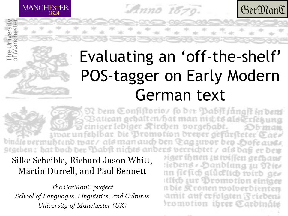 Evaluating an 'off-the-shelf' POS-tagger on Early Modern German text Challenges: Tokenisation issues Clitics: – hastu: hast du ('have you') - wirstu: wirst du ('will you') 22