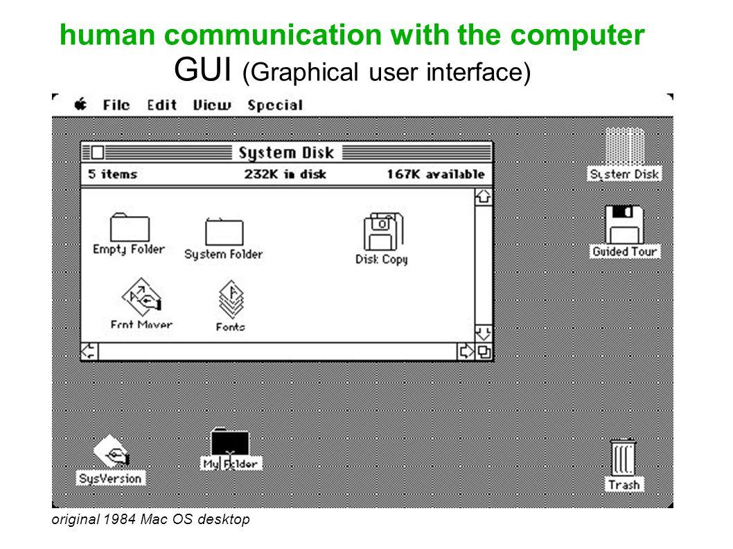 human communication with the computer GUI (Graphical user interface) original 1984 Mac OS desktop