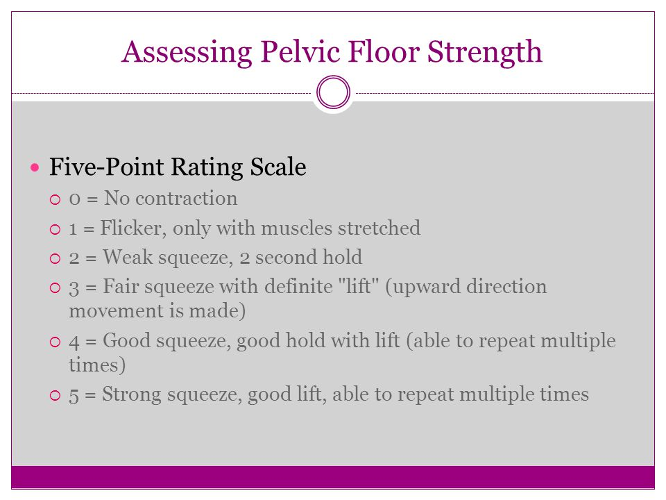 Assessing Pelvic Floor Strength Five-Point Rating Scale  0 = No contraction  1 = Flicker, only with muscles stretched  2 = Weak squeeze, 2 second h
