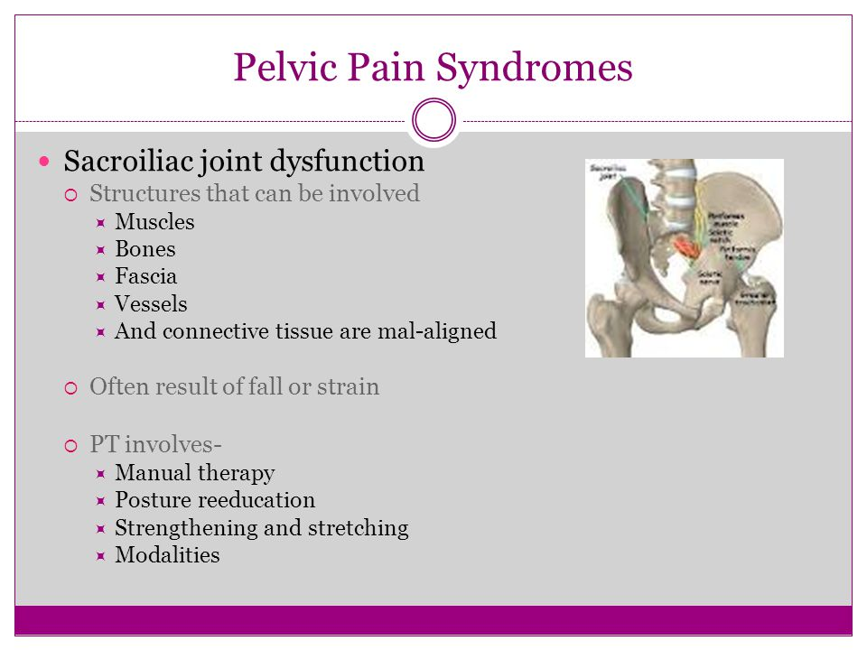 Pelvic Pain Syndromes Sacroiliac joint dysfunction  Structures that can be involved  Muscles  Bones  Fascia  Vessels  And connective tissue are
