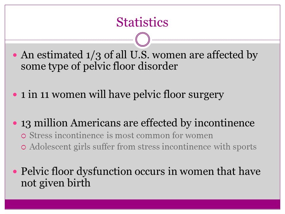 Statistics An estimated 1/3 of all U.S. women are affected by some type of pelvic floor disorder 1 in 11 women will have pelvic floor surgery 13 milli