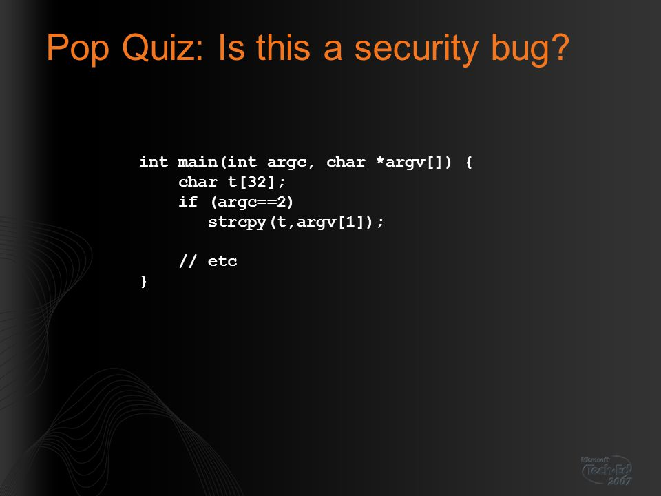 Pop Quiz: Is this a security bug.