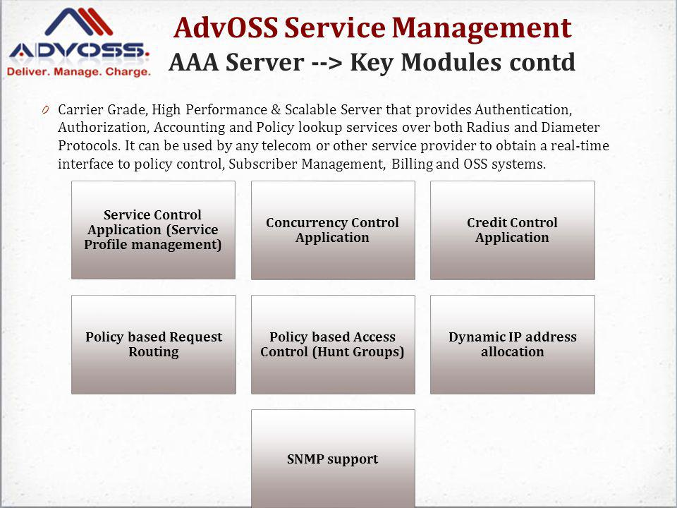 AdvOSS Service Management AAA Server --> Key Modules contd 0 Carrier Grade, High Performance & Scalable Server that provides Authentication, Authoriza
