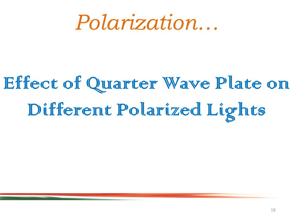 18 Polarization… Effect of Quarter Wave Plate on Different Polarized Lights