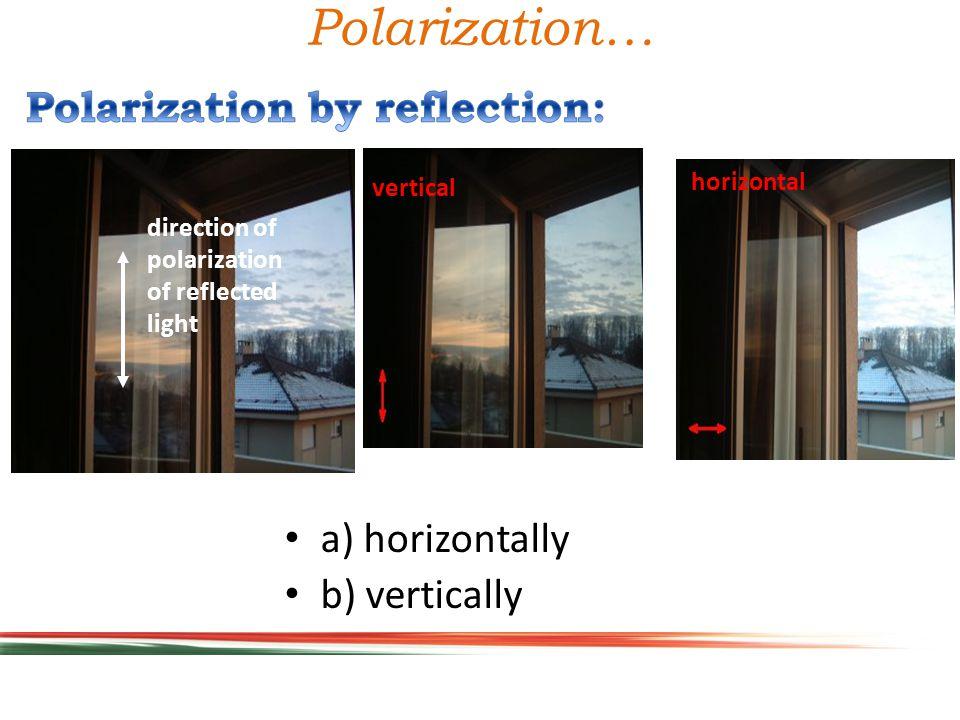 Polarization… a) horizontally b) vertically horizontal vertical direction of polarization of reflected light