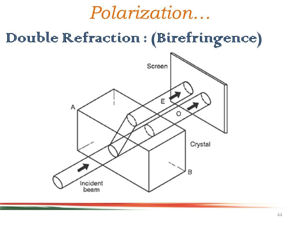 44 Double Refraction : (Birefringence) Polarization…