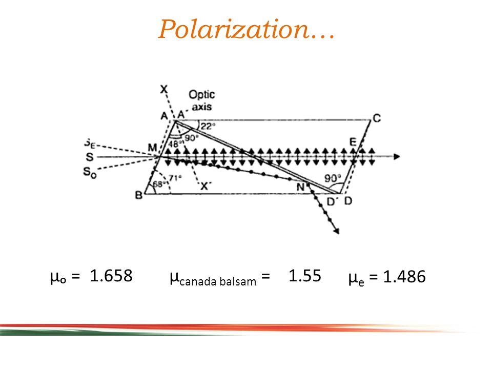 µₒ = 1.658 µ e = 1.486 µ canada balsam = 1.55