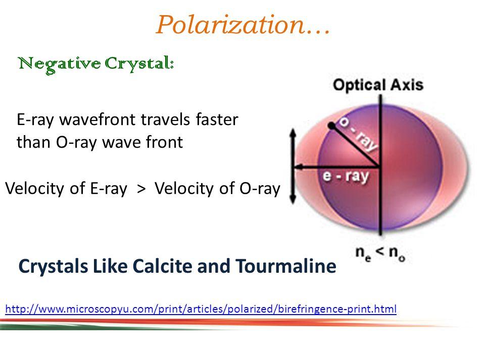 http://www.microscopyu.com/print/articles/polarized/birefringence-print.html Positive Crystal: Polarization… O-ray wavefront travels faster than E-ray wave front Velocity of O-ray > Velocity of E-ray Crystals Like Ice and Quartz