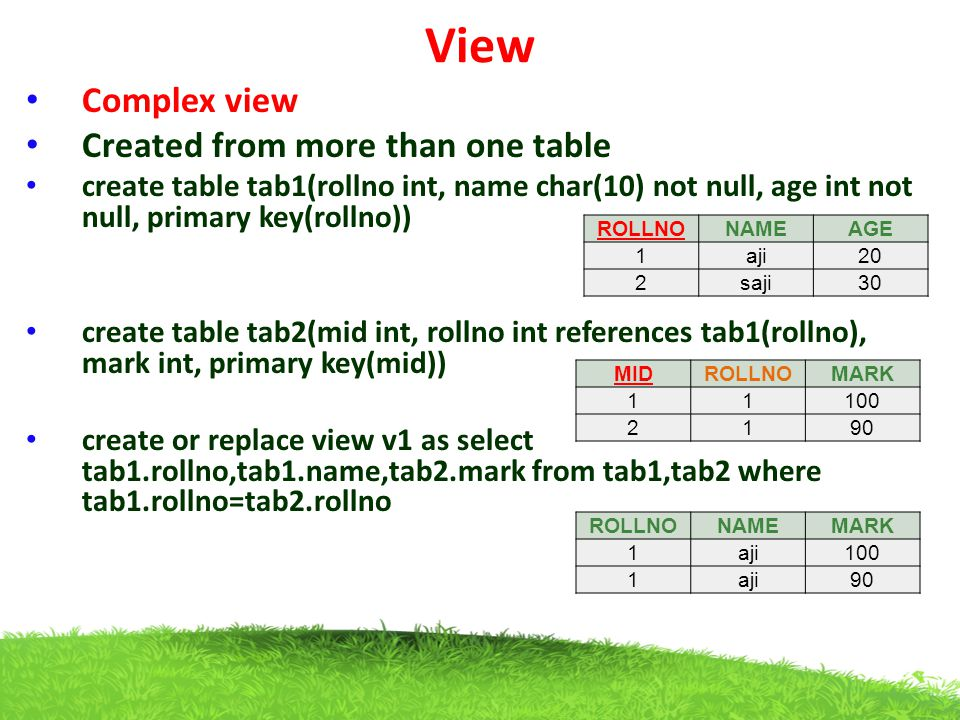 View Complex view Created from more than one table create table tab1(rollno int, name char(10) not null, age int not null, primary key(rollno)) create
