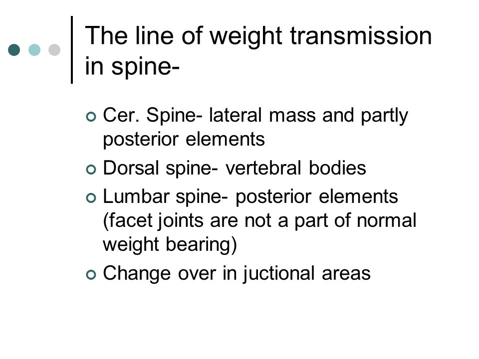 The line of weight transmission in spine- Cer. Spine- lateral mass and partly posterior elements Dorsal spine- vertebral bodies Lumbar spine- posterio