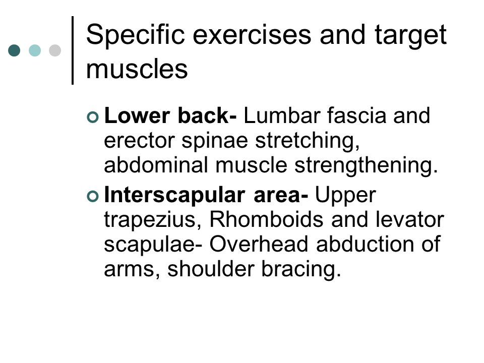 Specific exercises and target muscles Lower back- Lumbar fascia and erector spinae stretching, abdominal muscle strengthening. Interscapular area- Upp