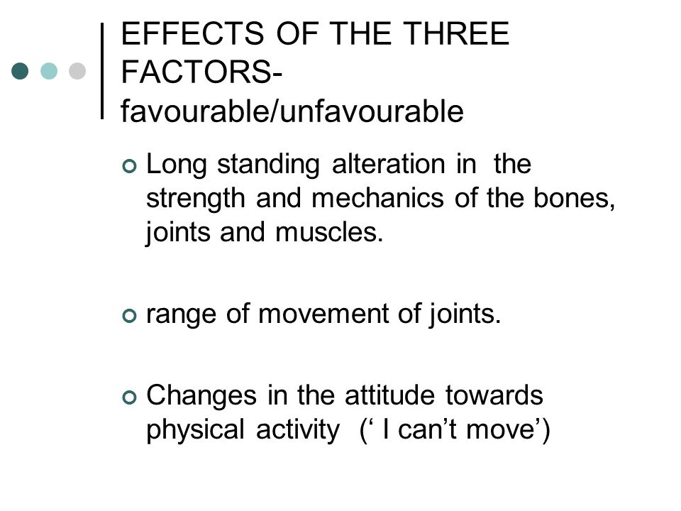EFFECTS OF THE THREE FACTORS- favourable/unfavourable Long standing alteration in the strength and mechanics of the bones, joints and muscles. range o